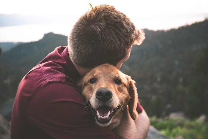 man hugging golden retriever
